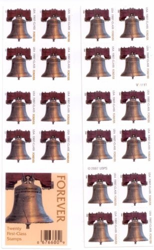 Stamp Booklet Pane (USPS Forever Stamps Liberty Bell 100 Stamps (5 books of 20) Size: 100 stamps Model:)