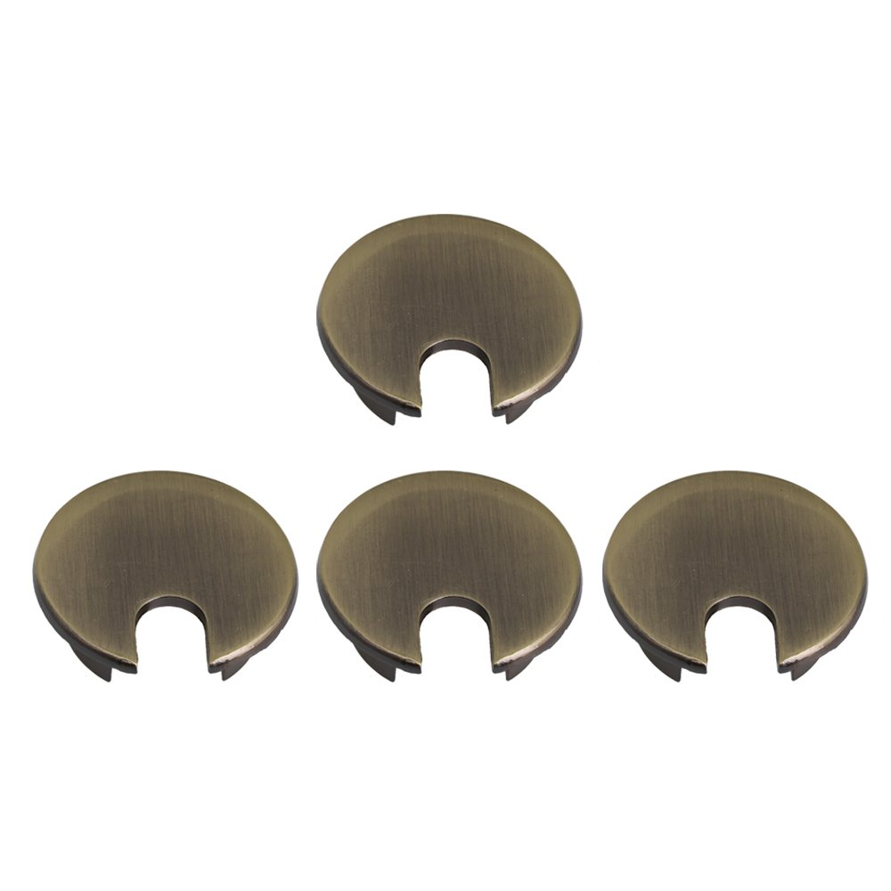 RDEXP 35.5mm Dia Hole Bronze Zinc Alloy Computer Desk Grommet Table Cable Tidy Outlet Port Wire Hole Cover Set of 4