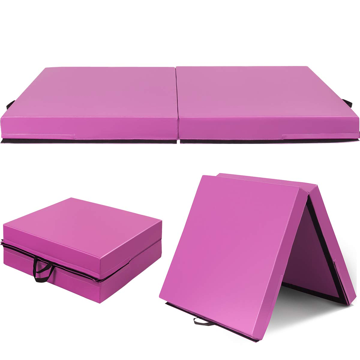 Giantex 6'x3.2'X4'' Gymnastics Mat Thick Folding Panel for for Gym, Yoga, Martial Arts with Hook & Loop Fasteners