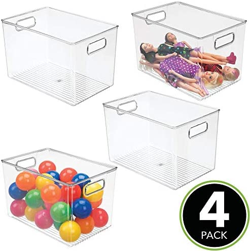 """51Q2qM2LsSL. AC mDesign Deep Plastic Home Storage Organizer Bin for Cube Furniture Shelving in Office, Entryway, Closet, Cabinet, Bedroom, Laundry Room, Nursery, Kids Toy Room - 12"""" x 8"""" x 7.75"""" - 4 Pack - Clear    These plastic Storage Boxes by mDesign are perfect for keeping your home organized and clutter-free. They offer roomy space for a variety of items and they fit perfectly into cube storage shelving units. Slide these into the cubbies and you are ready to get organized! The open top makes it easy to see what is stored inside and quickly grab what you need. The integrated handles make moving the cube baskets on and off of shelves easy."""