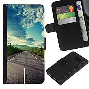 KingStore / Leather Etui en cuir / Samsung Galaxy S6 / Open Road Libertad Sky Drive verano