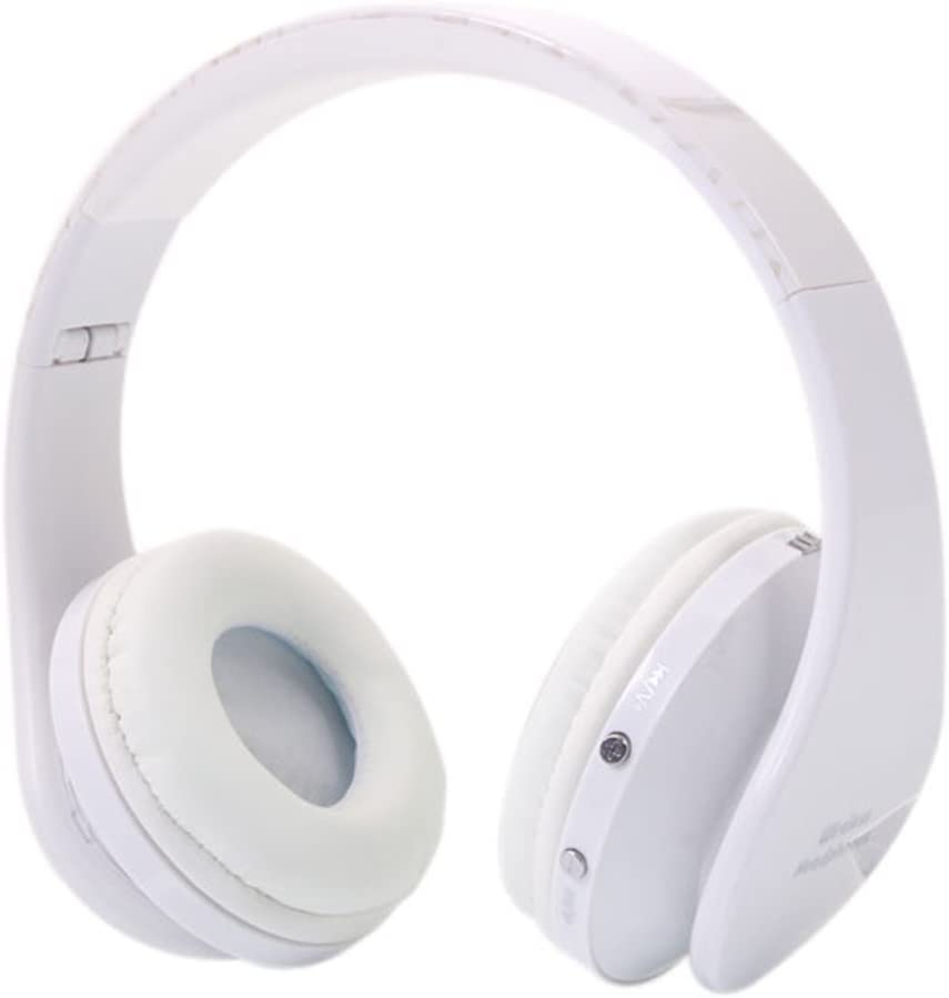 Knocbel Wireless Bluetooth On-Ear Headphone with Mic & Charging Cable, Lightweight Folding Stereo Bass Headset (White)