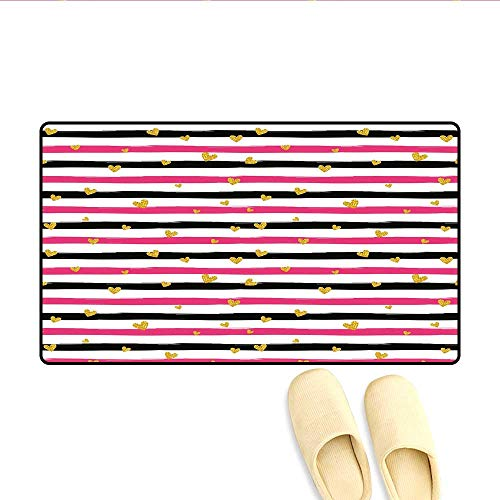 Bath Mat Romantic Teenager Love Sign Hearts on Grunge Stripes Lines Door Mat Small Rug Hot Pink Black and White 24