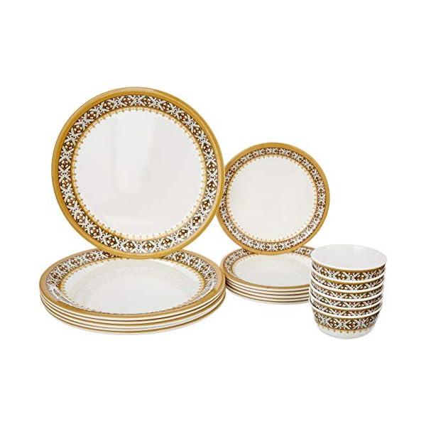 Amazon Brand - Solimo Majestico Melamine Dinnerware Set (White,18 Pieces)