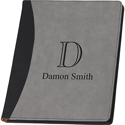 - Faux Leather Business Portfolio or Padfolio Folio Grey Writing Pad, Professional Notepad Organizer, Women or Men Executive Letter Sized Notebook Binder, Personalized, Initial and Name Included