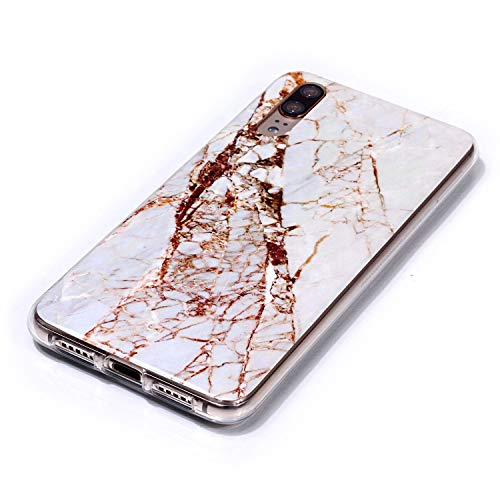 for Huawei P20 Marble Case with Screen Protector,Unique Pattern Design Skin Ultra Thin Slim Fit Soft Gel Silicone Case,QFFUN Shockproof Anti-Scratch Protective Back Cover - White by QFFUN (Image #2)