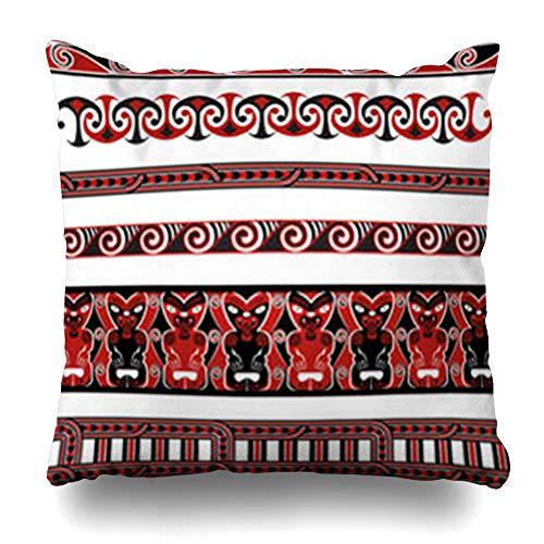 Aika Designs Throw Pillows Covers Pillowcase Scroll Red Tribal Maori Borders Patterns Abstract Koru Tiki Hawaiian Zealand Polynesian Culture Home Decor Zippered 20
