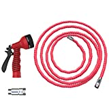 Casa Felice Expandable 50 Foot Garden Water Hose By Heavy Duty Double Layer Latex Fabric Core - Corrosion Resistant, Leak-Proof Nickel Alloy Fittings - Lightweight, Retractable, Tangle-Free Design