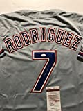 Autographed/Signed Ivan Pudge Rodriguez Texas Rangers Grey Baseball Jersey JSA COA