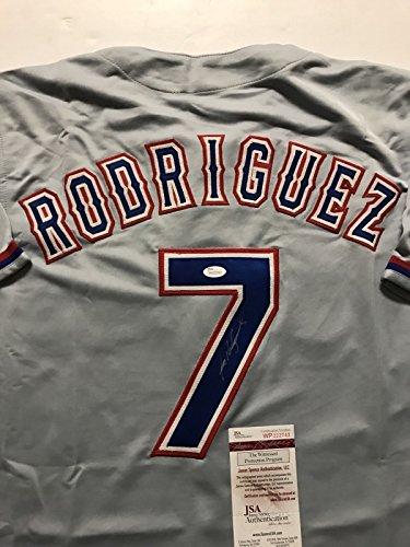 Autographed/Signed Ivan Pudge Rodriguez Texas Rangers Grey Baseball Jersey JSA COA (Ivan Pudge Rodriguez)
