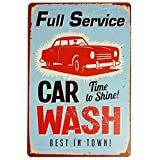 """Vintage Tin Sign for wall garage Retro Decor Metal poster Plaque Full Service Car Wash Best in Town 8"""" X 12"""""""