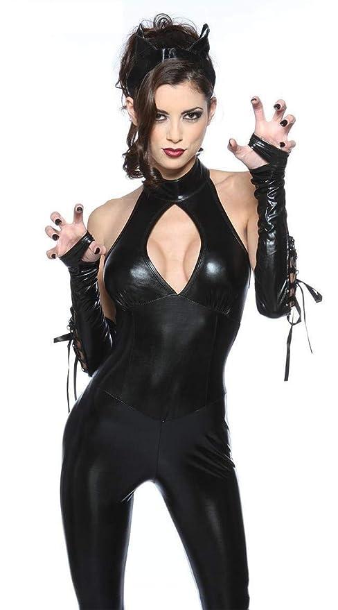ACZZ Mono de mujer Spandex Sexy Black Cat Disfraces de látex ...