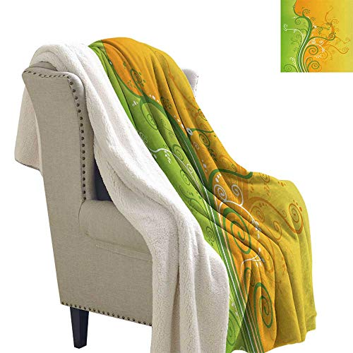 Jinguizi Modern Blanket Small Quilt Floral Flower Swirls Leaves on The Branches Design Modern Print Coverlet 60x32 Inch Light Green Marigold and White ()