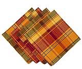 Harvest Plaid Design Cotton Terracotta Napkins, 20-inch Square, Set of 4