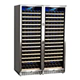 Edgestar CWR1661SZDUAL 332 Bottle Built-In Side-by-Side Wine Cellar Stainless Steel - Black