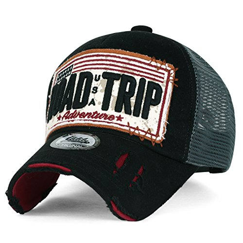 ililily Road Trip Vintage Distressed Snapback Trucker Hat Baseball Cap (X-Large, Black_XL)