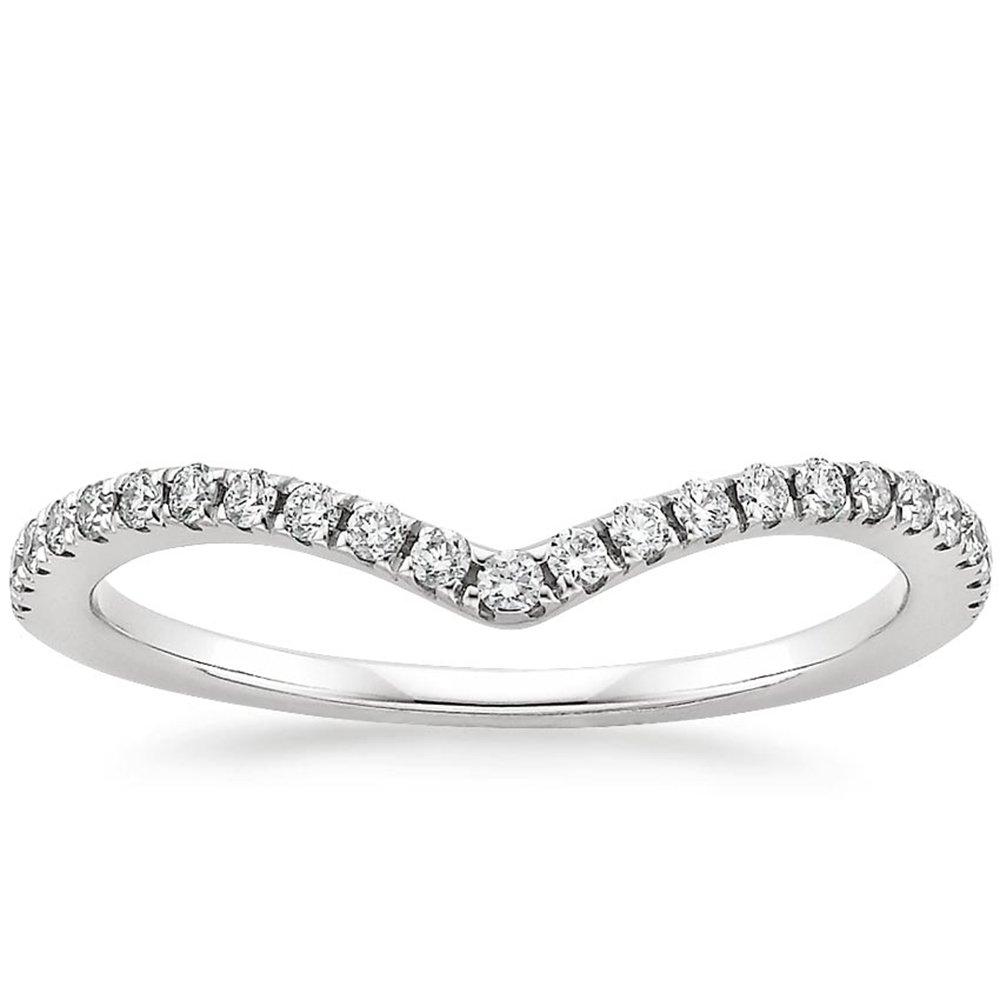 espere Womens Sterling Silver Eternity Band With AAA CZ 18K Plating Weddings Bands 1.8mm Width