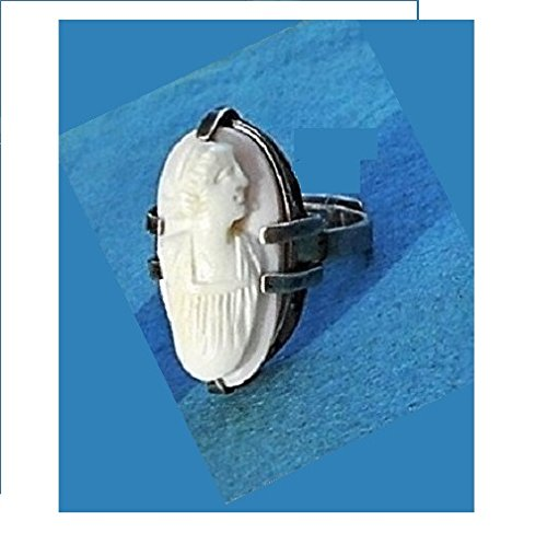 Cameo Large Antique (1 ANTIQUE CAMEO RING Large Sterling Silver Ring, Vintage Adjustable White Shell Cameo Hand Carved Victorian Headdress & Gown. One of a Kind!)