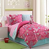 Reversible Pink Leopard Bed in a Bag Multi-Color Bed Set with sheets - 2609-Full