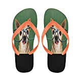 InterestPrint Flip Flop Slippers Chihuahua with Glasses Beach Thong Sandal