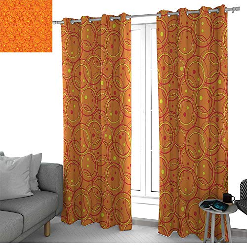 - LewisColeridge Grommet Curtains Burnt Orange,Circle Patterns in Fashion Trend Colors on Retro Dotted Background Decorative,Orange Yellow,Blackout Draperies for Bedroom Window 54