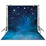 Funnytree 5x7ft Polyester Starry Night Backdrop Fantasy Blink Stars Tranquil Evening Vast Space Galaxy Background for Children Photography Baby Shower Portrait Studio Decoration Photocall Booth