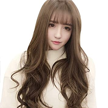 Amazon New Korean Girl With Long Curly Hair Wig Baby Child