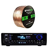 Pyle PT390BTU Bluetooth Digital Home Theater 300-Watt Stereo Receiver, with Enrock Audio 16-Gauge 100 Foot Speaker Wire