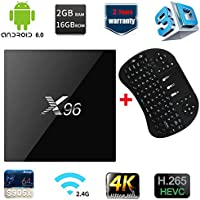 X96 Android TV Box Android 6.0 Amlogic S905X 2GB DDR3 16GB eMMC 4K Streaming Media Player with 2.4G Qwerty Wireless Keyboard
