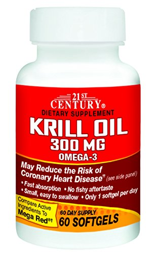 21st Century Krill Oil 300 mg Softgels, 60 Count