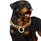 Abaxaca Extra Big Dog Collar 19mm Large Stianless Steel Gold Choke Training Collar Necklace Chain for dog (24 inch, Gold)