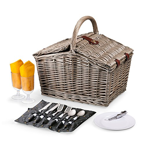 Picnic Time Piccadilly Willow Picnic Basket with Service for Two, Anthology Collection (Picnic Basket Wicker Wine)