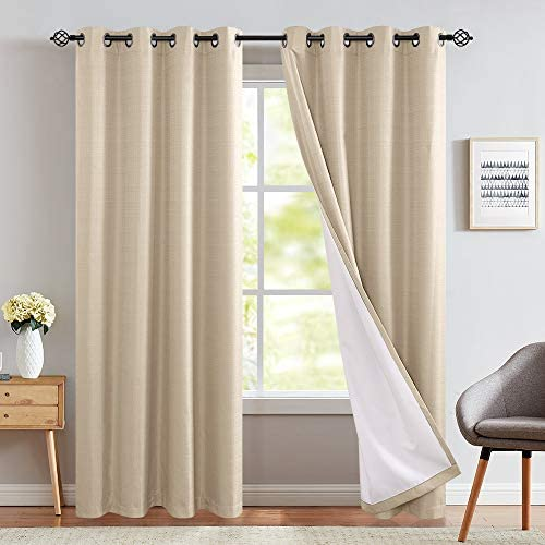 Room Darkening Curtains for Bedroom 95 inches Long Moderate Blackout Curtains for Living Room Lined Window Curtain Panels Grommet Top, 2 Panels, Beige
