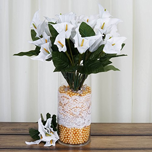 BalsaCircle 84 White Silk Calla Lilies - 12 Bushes - Artificial Flowers Wedding Party Centerpieces Arrangements Bouquets Supplies