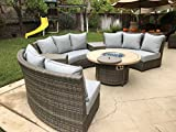 Bermuda Platinum 6-Piece Circular Sofa Set (Canvas Spa)