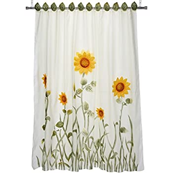 Chezmoi Collection White Green Yellow 3D Sunflower Shower Curtain With Liner And 12 Hook Set