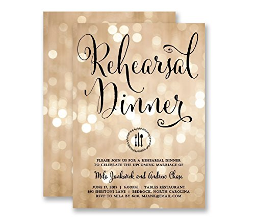- Wedding Rehearsal Invitations Dinner Party Champagne Bokeh Twinkling Lights & Black Modern Elegant Calligraphy Customized Invites - Mila style