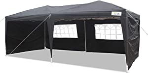 Goutime 10 X 20 feet Party Event Instant Tent, Ez Pop up Canopy with Removable Sidewalls and Wheeled Bag (10'x 20', Black)
