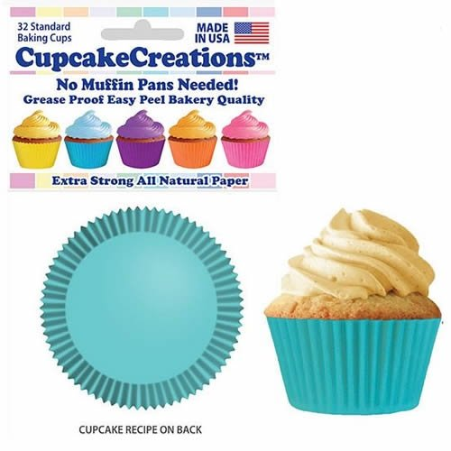 Light Turquoise Cupcake Baking Cup Liners 32 Count by Cupcake Creations]()