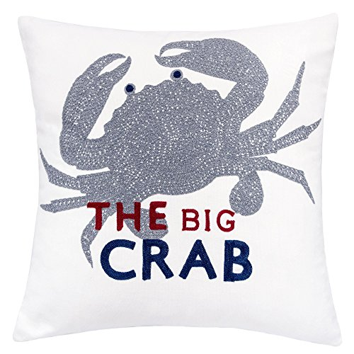 (Homey Cozy Embroidery White Velvet Crab Throw Pillow Cover,Ocean Blue Series The Big Crab Nautical Decorative Pillow Case Coastal Beach Theme Home Decor 20x20,Cover Only)