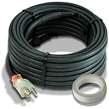 Heat Cable for Pipe Freeze Protection, 9 feet, with Built-in Thermostat and 16 Feet of High-Temp Installation Tape, Heavy-Duty, Self-Regulating, 120 volt