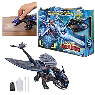 Dragons 6045436 DreamWorks, Giant Toothless, 20-inch Fire Breathing Effects and Bioluminescent Colour, for Kids Aged 4 and Up, Blue/Black: Toys & Games