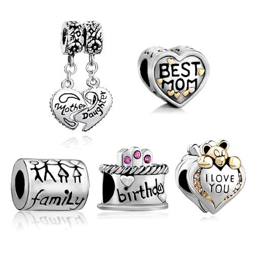 6170f432a Pugster 5 Love Bead Bundle Sets Birthday Mom Gift Mother Daughter Heart  Dangle Beads Fits Pandora Charm Bracelet: Pugster: Amazon.ca: Jewelry