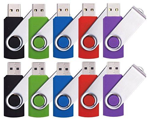 DDC¨ 10pcs 8GB Swivel Design USB 2.0 Flash Drive Memory Stick (5 Mixed Colors: Black Blue Green Purple Red)
