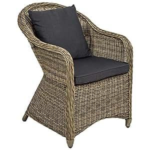 TecTake Aluminio Silla de jardín sillón Sofa de Mimbre poliratán terraza con cojín de Asiento y cojín del Respaldo (marrón Naturaleza | no. 401766)