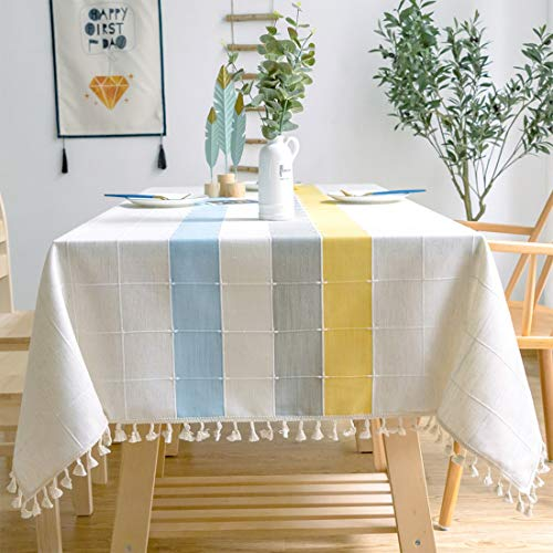 smiry Embroidery Tassel Tablecloth – Cotton Linen Dust-Proof Table Cover for Kitchen Dining Room Party Home Tabletop Decoration (Square, 55 x 55 Inch, Yellow)
