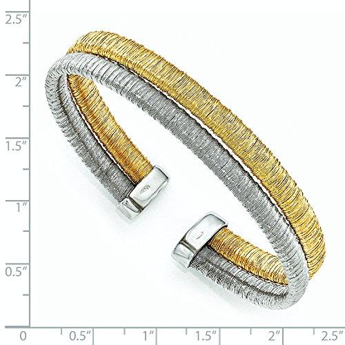 10mm en Argent Sterling 925Doré texturé Bracelet Manchette