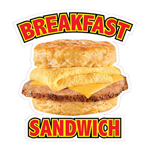 Die-Cut Sticker Multiple Sizes Breakfast Sandwiches Style B Restaurant & Food Egg Sandwich Indoor Decal Concession Sign Yellow - 24in Longest Side