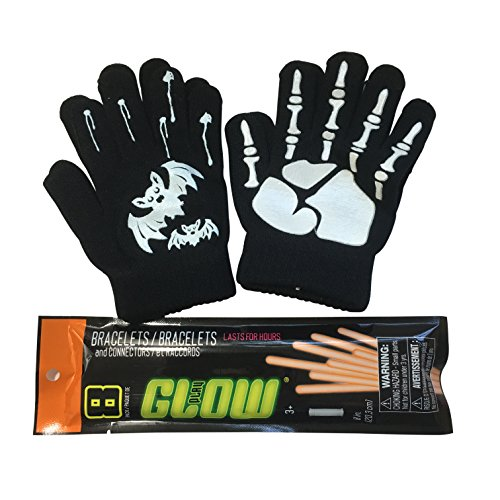 Skeleton Glow Stick Costume (Halloween Costume Gloves - Glow in the Dark Knit Gloves and Bracelets - Full Finger Skeleton & Bat Pattern - Unisex Funny Winter Gloves for Kids)