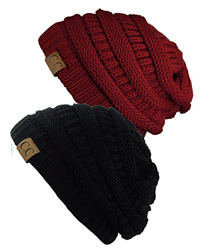 Trendy Warm Chunky Soft Stretch Cable Knit Slouchy Beanie Skully HAT20A (2 PACK BLACK/BURGUNDY)